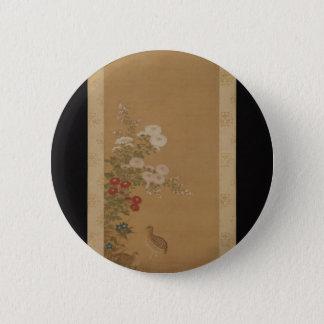 Wachteln unter Herbst-Blumen - Japan Runder Button 5,7 Cm