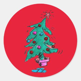 Wackelige Weihnachtsbaum-Aufkleber Runder Aufkleber