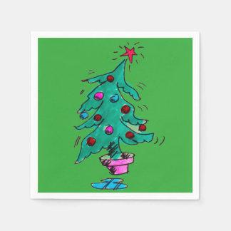 Wackelige Weihnachtsbaum-Servietten Papierserviette