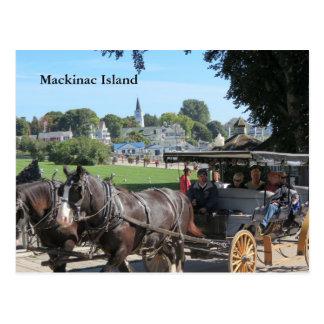 Wagen-Fahrten auf Mackinac Insel Postkarte