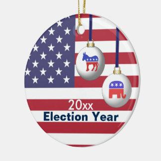 Wahl-Jahr-republikanisches oder demokratisches Rundes Keramik Ornament