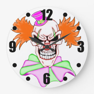 Wahnsinniger Clown-Schädel Große Wanduhr