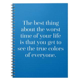 Wahre Farbzitat Spiral Notizblock