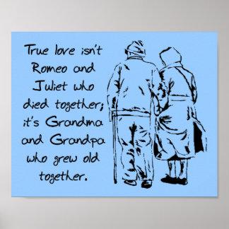 Wahre Liebe wächst altes lustiges romantisches Poster