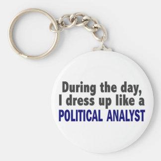 Während des Tages kleide ich oben wie ein politisc Standard Runder Schlüsselanhänger