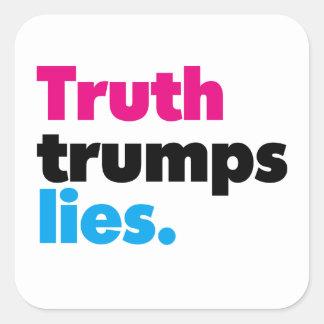 Wahrheit Trumps Lügen-Aufkleber (Set von 6) Quadratischer Aufkleber