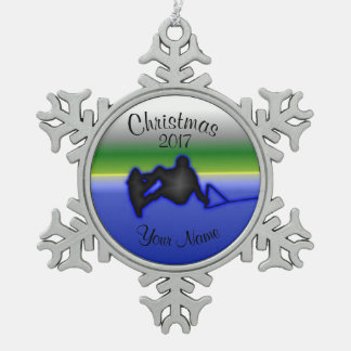 Wakeboard Zinn-Schneeflocke-Weihnachtsverzierung Schneeflocken Zinn-Ornament