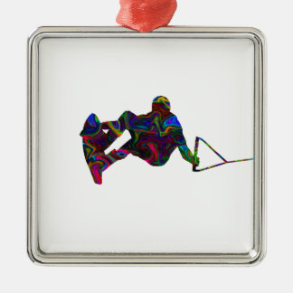 Wakeboarder-wilde Farben Quadratisches Silberfarbenes Ornament