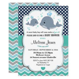Wal-Baby-Duschen-personalisierter 12,7 X 17,8 Cm Einladungskarte