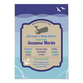 Wal-Babyparty-Einladungs-Anker-Ozean laden ein Karte