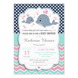 Wal-Babyparty-Einladungs-Baby-Rosa-Polka 12,7 X 17,8 Cm Einladungskarte