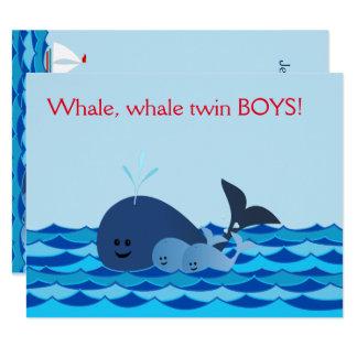 Wal ist es Doppeljungen, die Babyparty einladen 10,8 X 14 Cm Einladungskarte