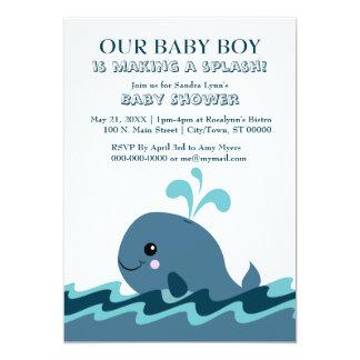 Wal-lädt themed blaues Baby-Dusche 12x18 ein 12,7 X 17,8 Cm Einladungskarte