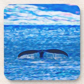 Wal-Schwanz-Fraktal blau und rosa Getränkeuntersetzer