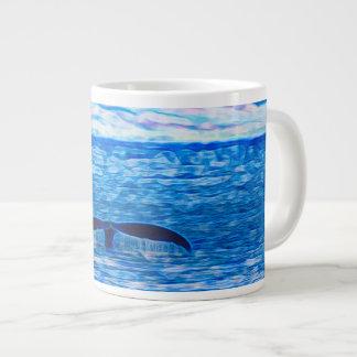 Wal-Schwanz-Fraktal blau und rosa Jumbo-Mug