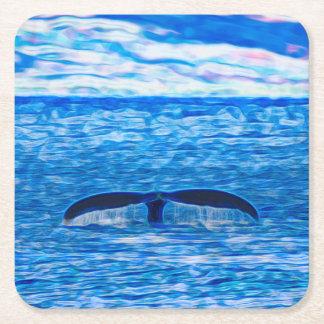 Wal-Schwanz-Fraktal blau und rosa Kartonuntersetzer Quadrat
