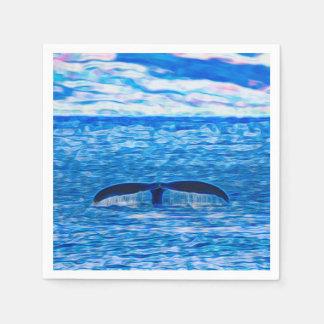 Wal-Schwanz-Fraktal blau und rosa Serviette