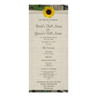 Wald-und Sonnenblume-Hochzeits-Programm Werbekarte