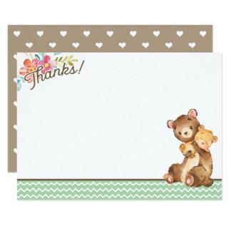 Waldbärn-Babyparty danken Ihnen zu kardieren Karte