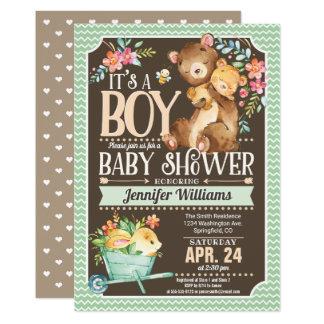 Waldbärn-Babyparty-Einladungs-Junge Karte