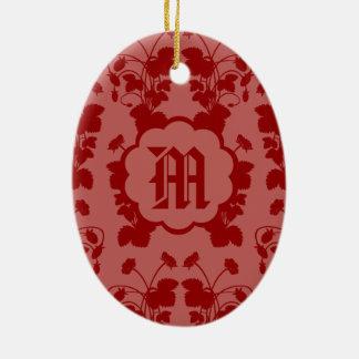 Walderdbeere-Muster-Monogramm-Verzierung Keramik Ornament