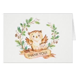 Waldeulen-Babyparty danken Ihnen zu merken Karte