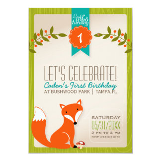 Waldfox-Geburtstags-Einladung 12,7 X 17,8 Cm Einladungskarte