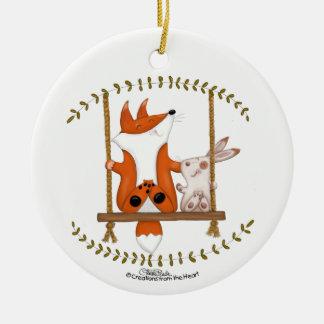 WaldFox und Häschen-Schwingen Keramik Ornament
