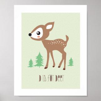 Waldfreunde - D ist- für Rotwild-Kunst-Druck Poster