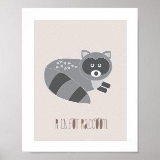 Waldfreunde - R ist- für Waschbär-Kunst-Druck Poster