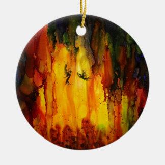 Waldgeist - abstrakte flüssige Malerei Keramik Ornament