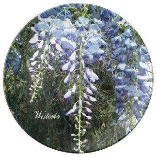 WaldGlyzinie-Blumennatur botanisch Teller Aus Porzellan