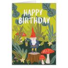 Waldgnome-Geburtstags-Wünsche Karte