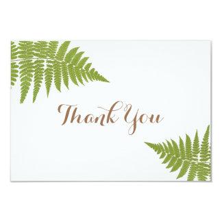 Waldhochzeits-Farn-Ebene danken Ihnen zu kardieren Karte