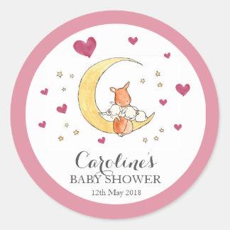 Waldland Moon Liebe-rosa Baby-Duschen-Aufkleber  Runder Aufkleber