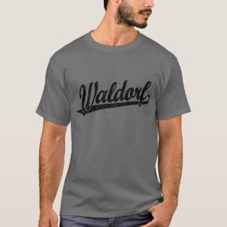 Waldorf Skriptlogo im Schwarzen beunruhigt T-Shirt