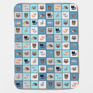 WaldPatchwork-Baby-Tiere Quiltlike *Blue Babydecke