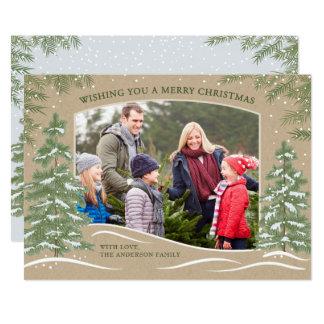 Waldschneefall-Weihnachtskarte Kraftpapier Karte