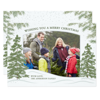 Waldschneefall-Weihnachtskarten-Weiß Karte