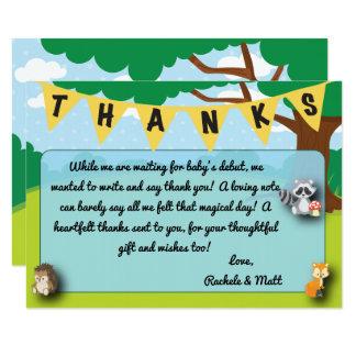 Waldthema-Babyparty danken Ihnen, Gewohnheit zu Karte