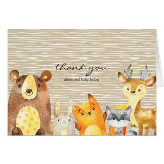 Waldtier-Babyparty danken Ihnen Karte