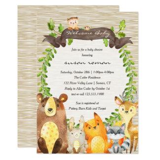 Waldtier-Babyparty-Einladung Karte
