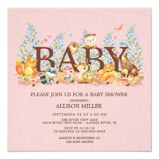 Waldtier Mu0026#228;dchen Babyparty Einladung Karte