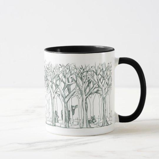 Waldtier-Rotwild-Kaninchen-Winter-Baum-Kunst Tasse