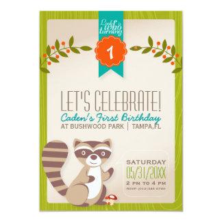 WaldWaschbär-Geburtstags-Einladung 12,7 X 17,8 Cm Einladungskarte