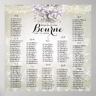 WaldWeckglas-Lavendel-Herz-Blatt-Baum-Hochzeit Poster