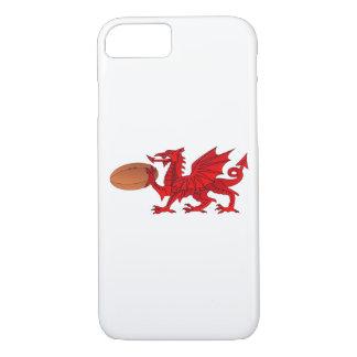 Waliser-Drache mit einem Rugbyball iPhone 7 oder iPhone 8/7 Hülle