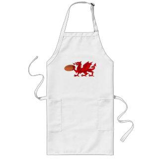 Waliser-Drache mit einer Rugby-Ball-Küchen-Schürze Lange Schürze