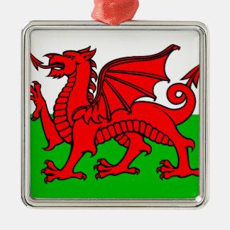 Waliser-Flagge Quadratisches Silberfarbenes Ornament