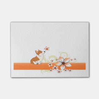 WaliserCorgi mit Blume Post-it Klebezettel